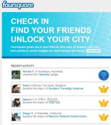 著名社交签到服务foursquare